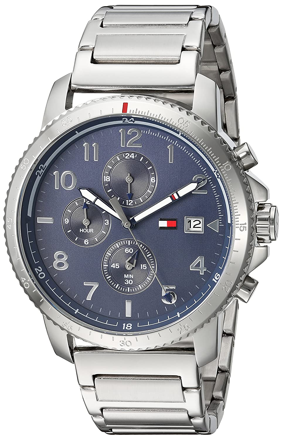 Tommy Hilfiger Men Casual Sport Quartz Watch with StainlessSteel Strap Silver 08 Model 1791360
