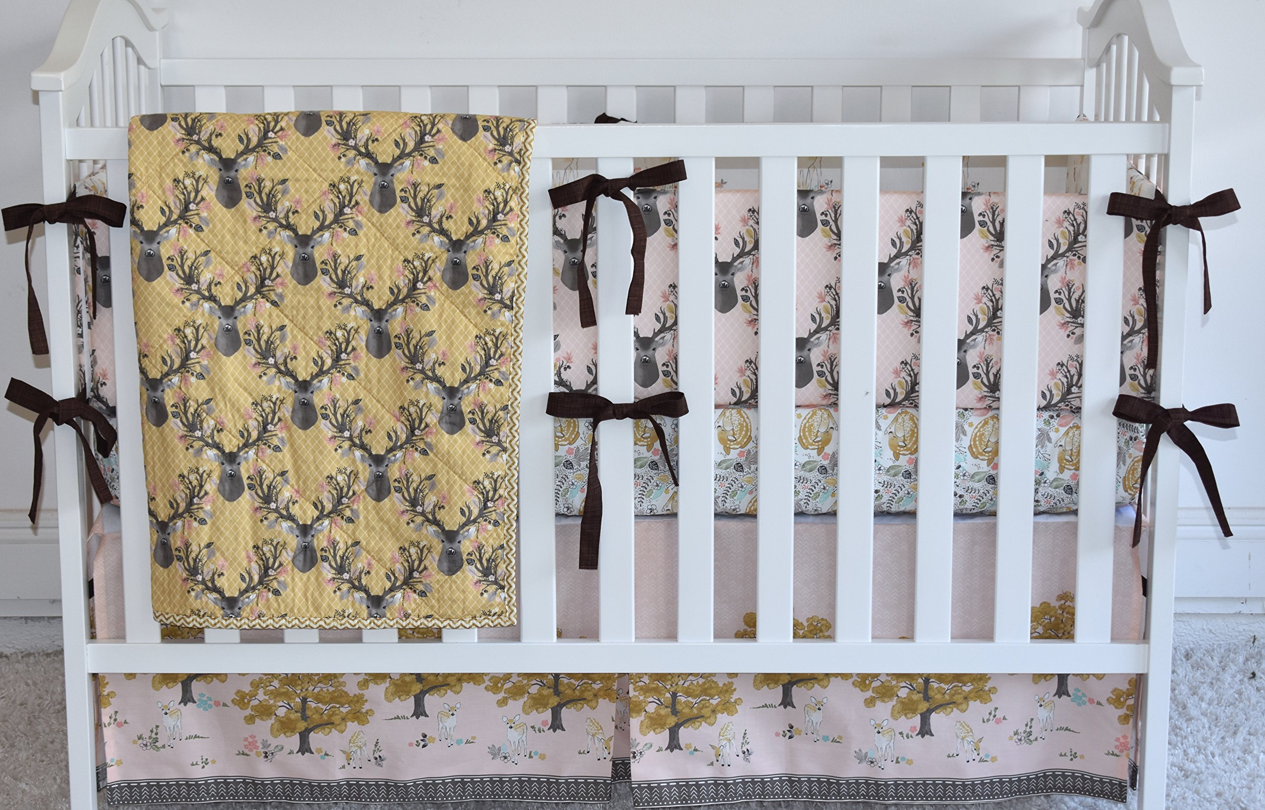 Golden Deer Crib Bedding, antlers, deer, fawn, sheet, quilt , skirt
