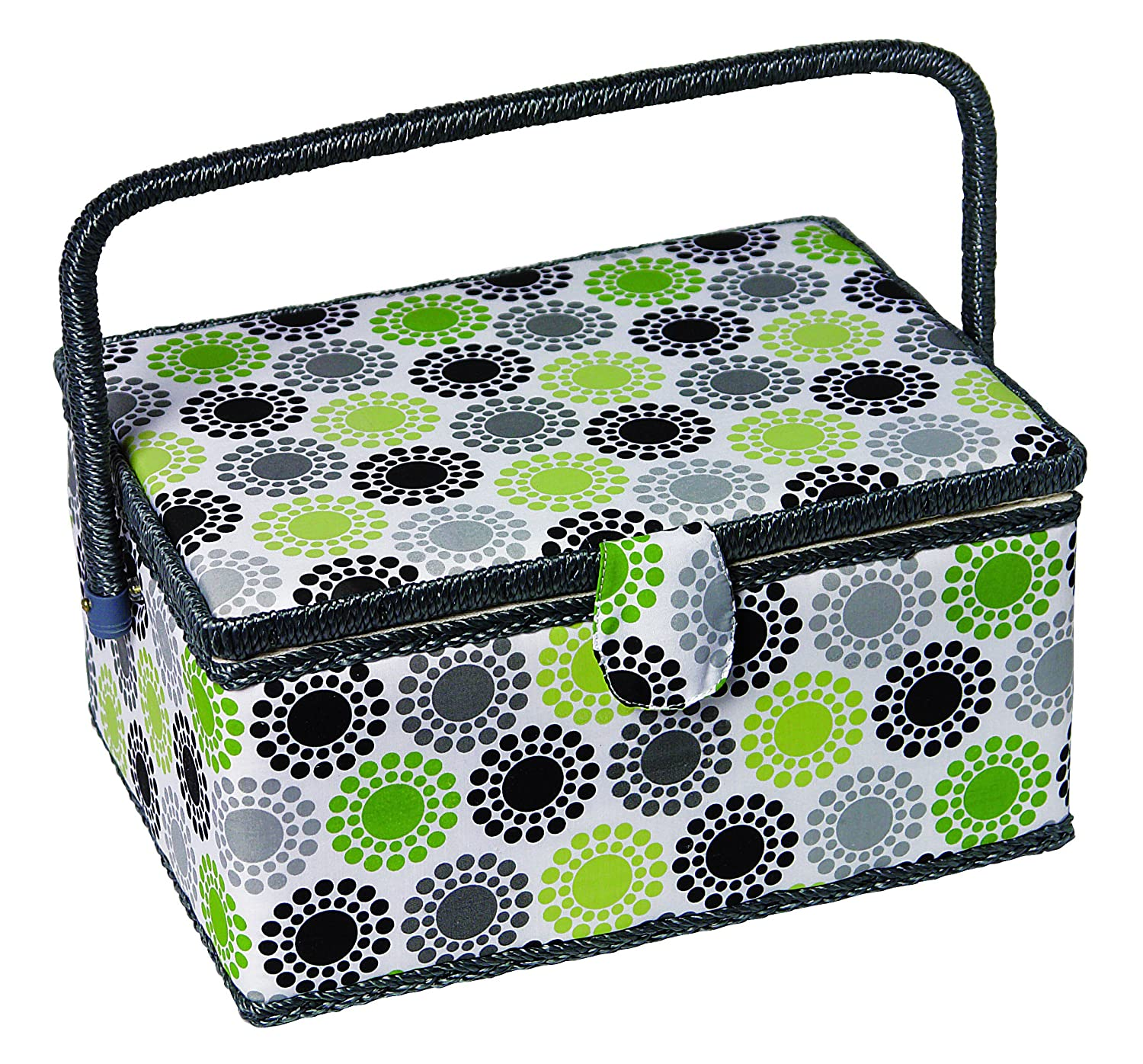 Kleiber Kleiber Large Rectangular Sewing Basket Sunflower Pattern with Whicker Handle, Lime Green/Grey/Black by Kleiber 918-81