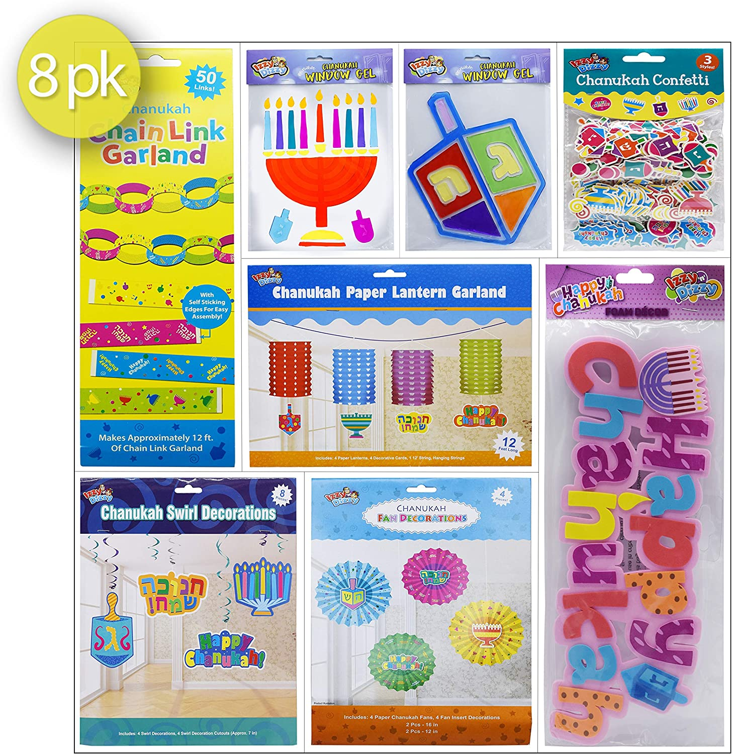 Izzy 'n' Dizzy Chanukah Decoration Mega Pack - 8 Individually Wrapped Packs - Hanukkah Party Decorations and Supplies Assortment