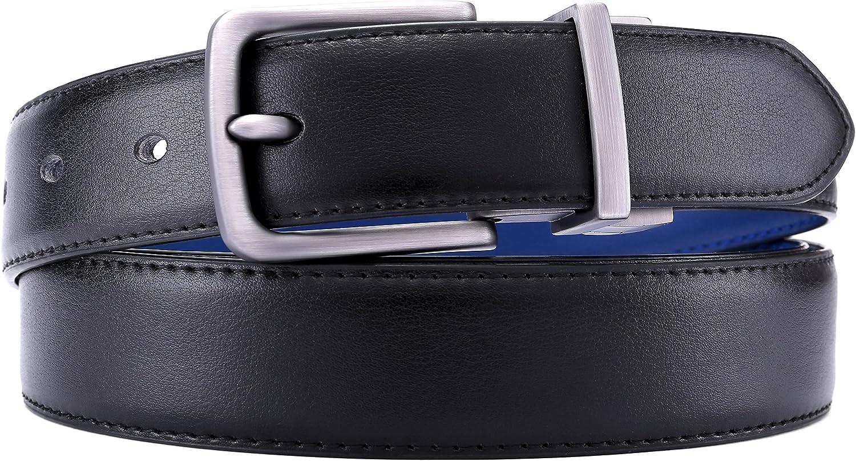 Cintura Reversibile di Pelle 31mm Confezione Regalo,Dimensioni Regolabili BULLIANT Cintura Uomo