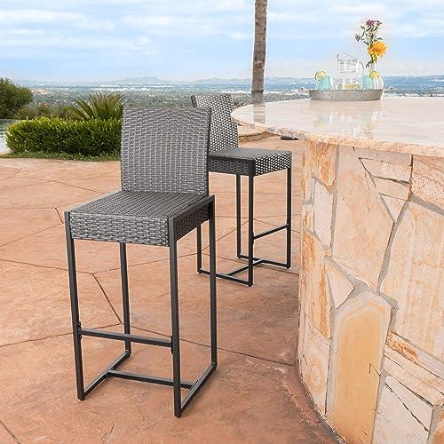 Christopher Knight Home Conrad Outdoor Wicker Barstools