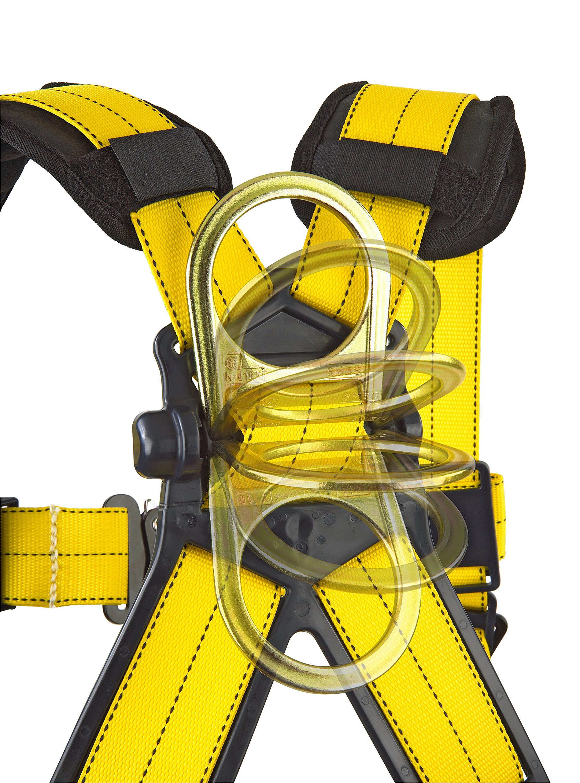 3M DBI-SALA Delta 1101654 Construction Harness, Back/Side D-Rings, Belt w/Sewn-In Back & Shoulder Pads, Tongue Buckle Leg Straps, Medium, Navy/Yellow by 3M Fall Protection Business (Image #6)