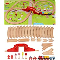 Wooden Train Set with Town Map-Shinington Railway Track Construction Building Toys for 3 years old Kids Boys Girls…