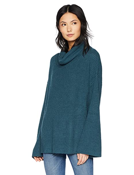 cea3759d38 Cable Stitch Women s Funnel Neck Oversized Sweater X-Large Aegean Blue