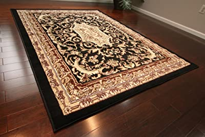 Generations pre8024black_8x11_2 Traditional Opera Persian Area Rug, 8' x 10', Black