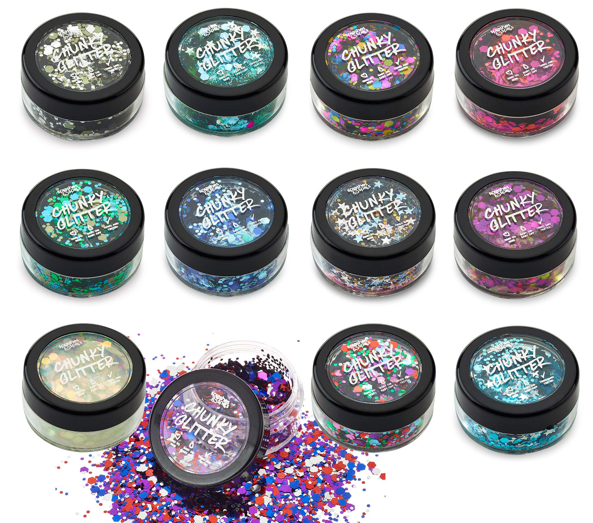 Regular Chunky Loose Glitter - 5g Containers 12 Color Set with 10ml Fixer Gel for Face, Body, Hair - Great Shimmer Effect for Festival, Concert, Halloween Costume, Party - by Splashes and Spills