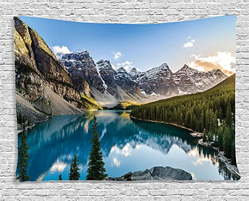 Ambesonne Mountain Tapestry, Nature Landscape of Moraine Lake and Mountain at Sunset Pine Tree Natural Beauty, Wide Wall Hanging for Bedroom Living Room Dorm, 80 X 60 , Green Blue