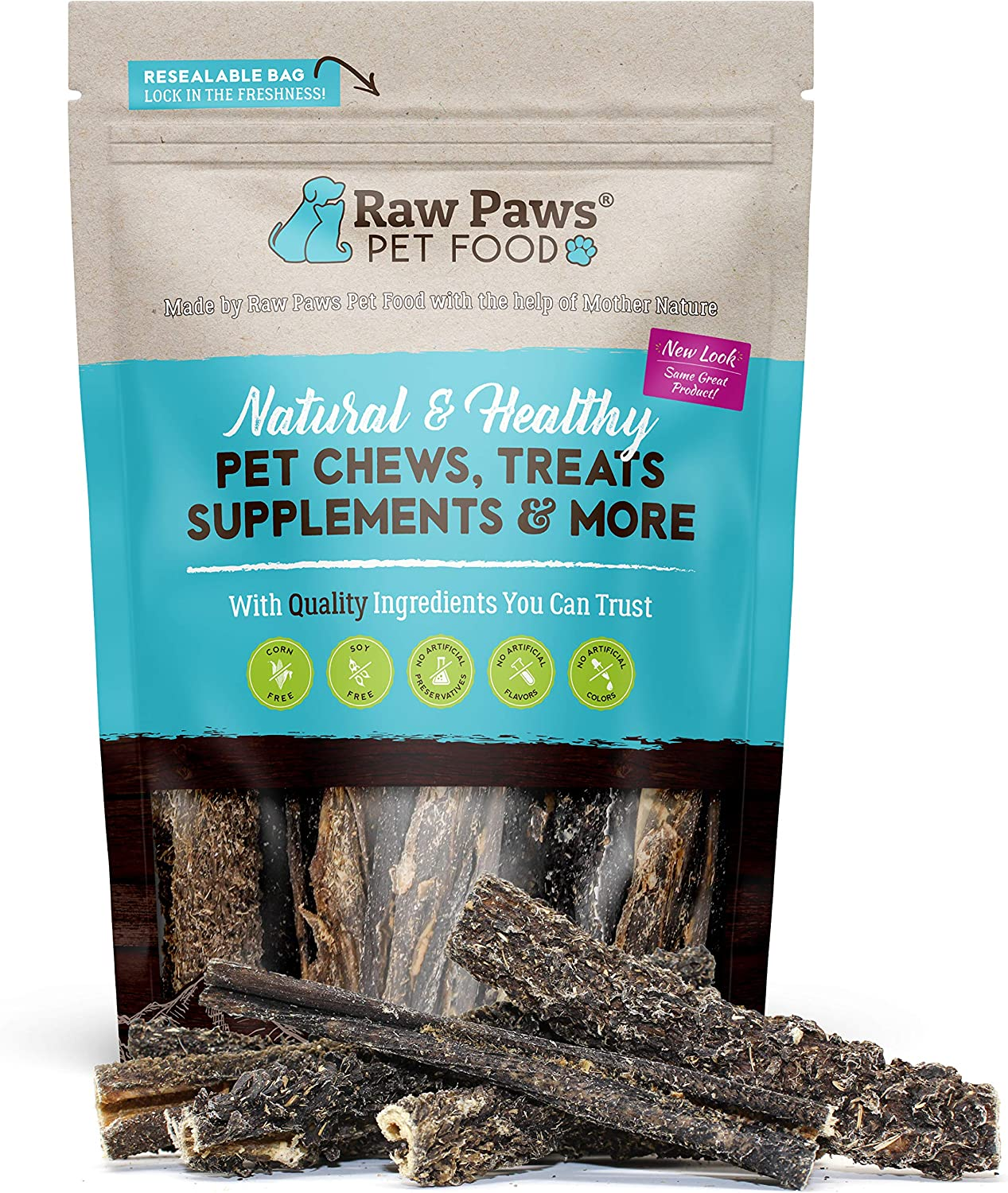 Raw Paws 6-inch Beef Green Tripe Sticks for Dogs, 10-Pack - Packed in USA - Dried Tripe Dog Treats from Free-Range, Grass Fed Cows No Added Antibiotics or Hormones - Dehydrated Green Tripe for Dogs