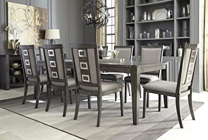 Chedoni Formal Wood Gray Color Dining Room Set: Rectangle Extension Table  With 8 Chairs
