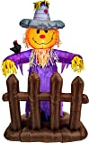5 Foot Scarecrow Pumpkin Halloween Thanksgiving Autumn Fall Party Portable Air Blown Inflatable Yard Decoration with LED Lights and Blower Fan Motor