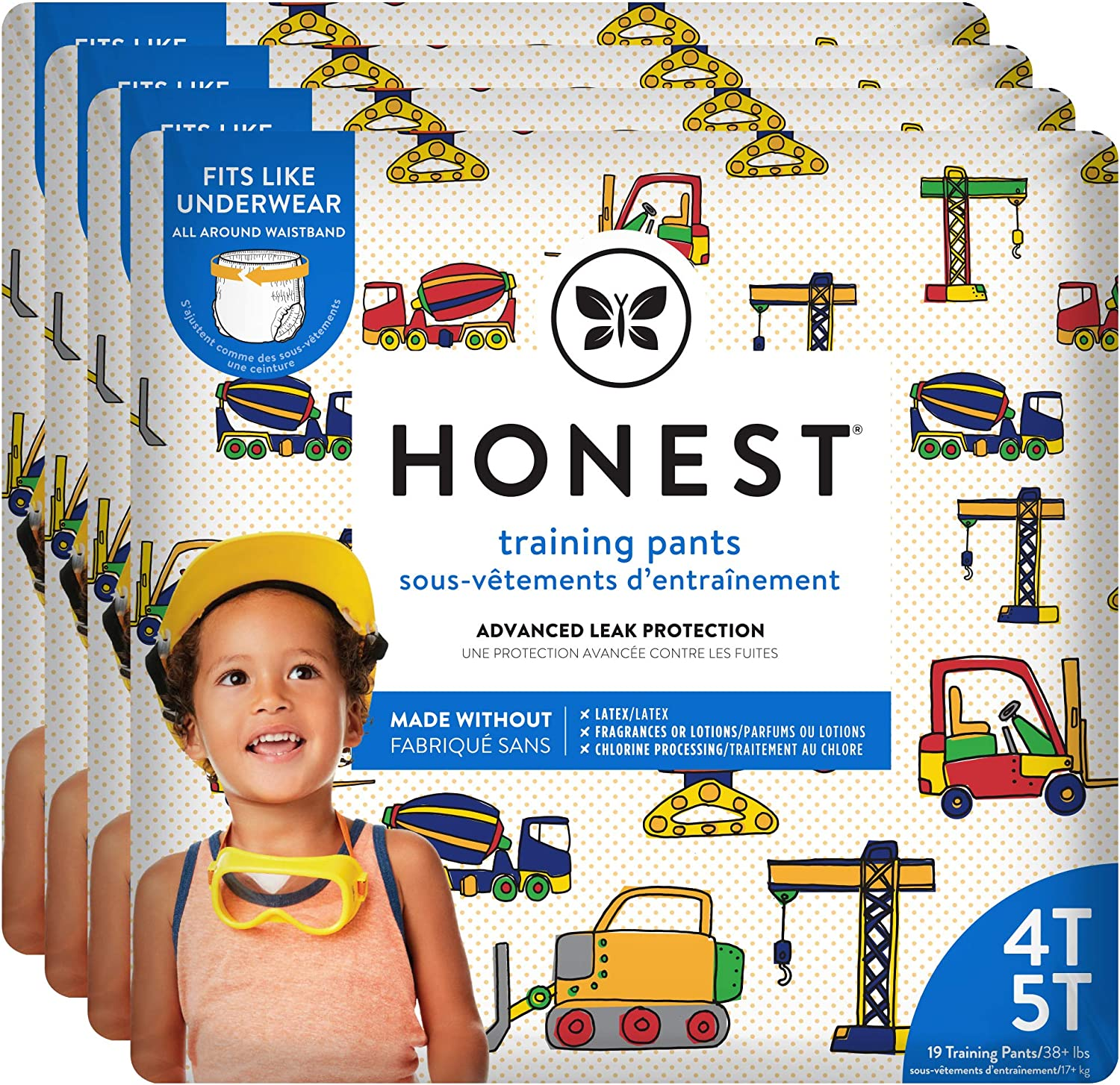 The Honest Company Toddler Training Pants | Construction Zone | 4T/5T | 76 Count | Eco-Friendly | Underwear-Like Fit | Stretchy Waistband & Tearaway Sides | Perfect for Potty Training