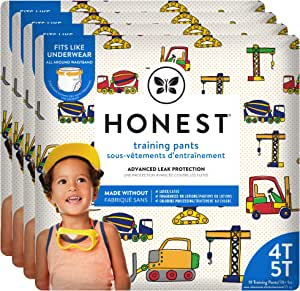 The Honest Company Toddler Training Pants, Construction Zone, 4T/5T, 76 Count, Eco-Friendly, Underwear-Like Fit, Stretchy Waistband & Tearaway Sides, Perfect for Potty Training