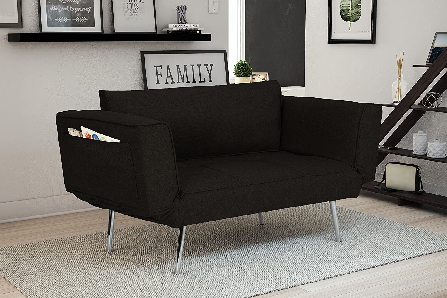Novogratz Leyla Loveseat, Multifunctional and Modern Design