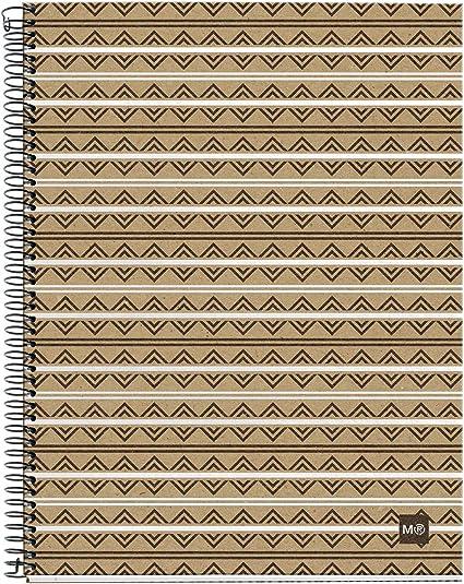 MIQUELRIUS - Cuaderno Notebook 100% Reciclado - 4 franjas de color, A4, 120 Hojas cuadriculadas 5mm, Papel 80 g, 4 Taladros, Cubierta de Cartón Reciclado, Diseño Ecoazteca: Amazon.es: Oficina y papelería
