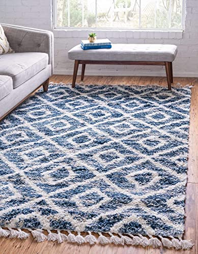 Unique Loom Hygge Shag Collection Geometric Lattice Plush Cozy Area Rug