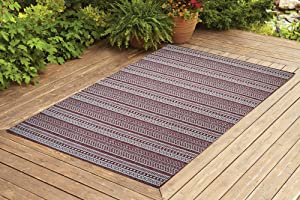 Benissimo Indoor Outdoor Rug Stripes Collection Non-Skid, Natural Sisal Woven and Jute Backing Area Carpet for Living Room, Bedroom, Kitchen, Entryway, Hallway, Patio, Farmhouse Decor, 4x6, Brick