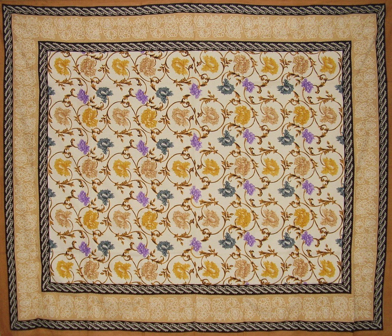 India Arts Mediterranean Floral Tapestry Cotton Bedspread 106 x 88 Full-Queen Tan