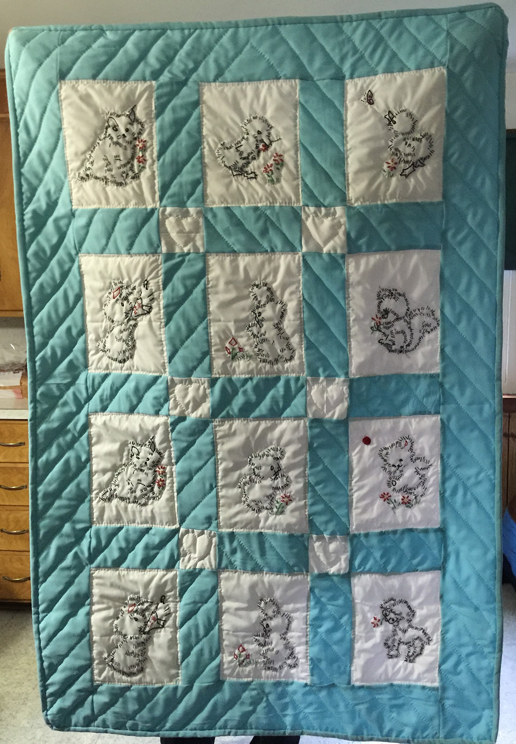 Baby/Crib Quilt Blue Amish Made with Animal Patches