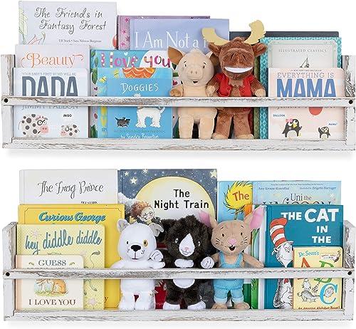 Nursery D cor Wall Shelves 2 Shelf Set Paulownia Wood Burnt White Floating Bookshelve
