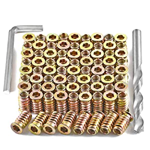 """PGMJ 80 Pieces 1/4""""-20 Wood Inserts Bolt Furniture Screw in Nut Threaded Fastener Connector Hex Socket Drive for Wood Furniture Assortment (1/4""""-20 x 20mm)"""
