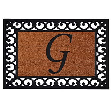 Home & More 180041925G Inserted Doormat, 19  X 25  x 0.60 , Monogrammed Letter G, Natural/Black