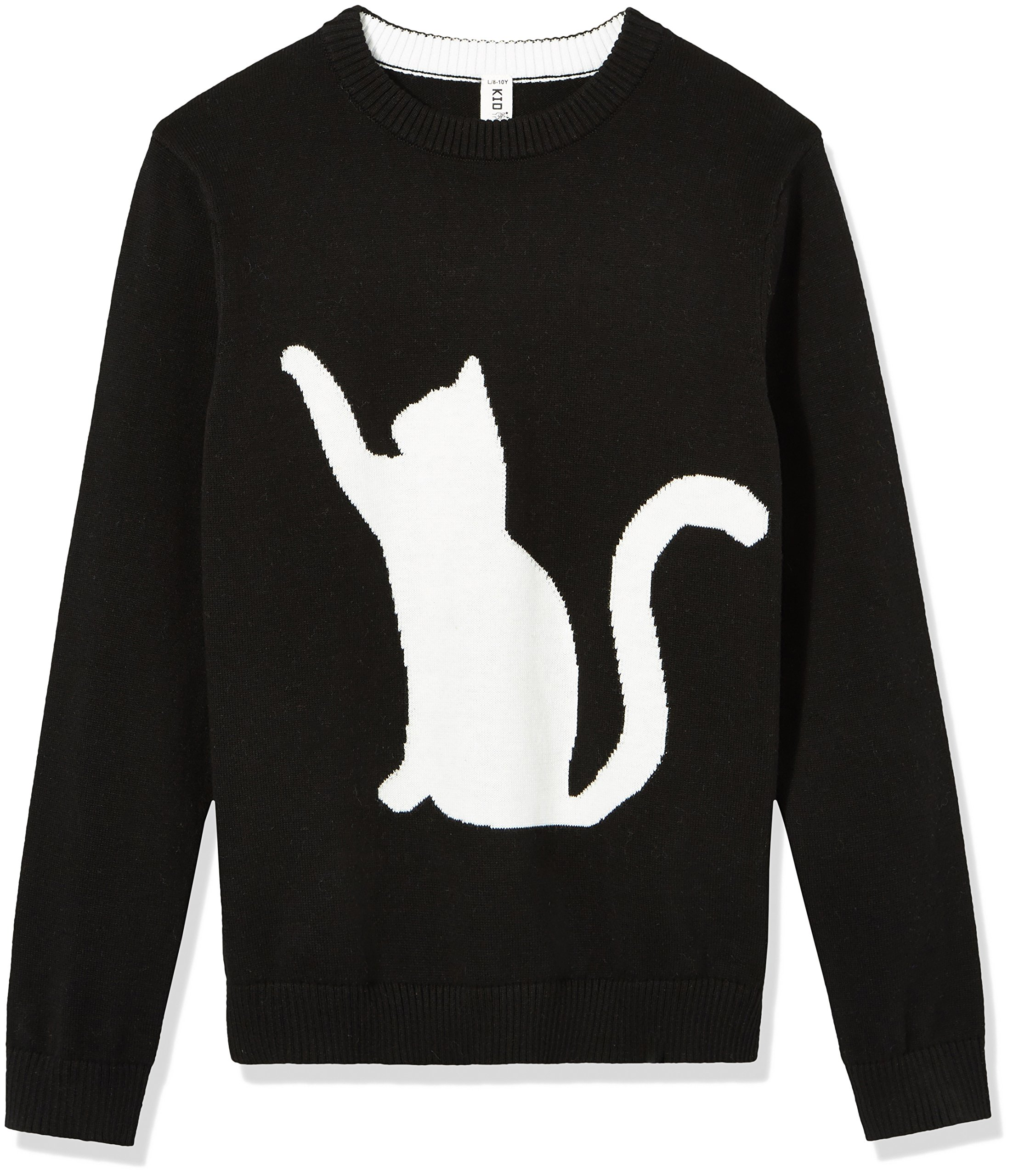Kid Nation Kids' Long Sleeve Pullover Cat Intarsia Jacquard Sweater for Boys or Girls M Black