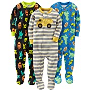 Simple Joys by Carter's Baby Boys' 3-Pack Snug-Fit Footed Cotton Pajamas, Monsters/Dino/Construction, 2T