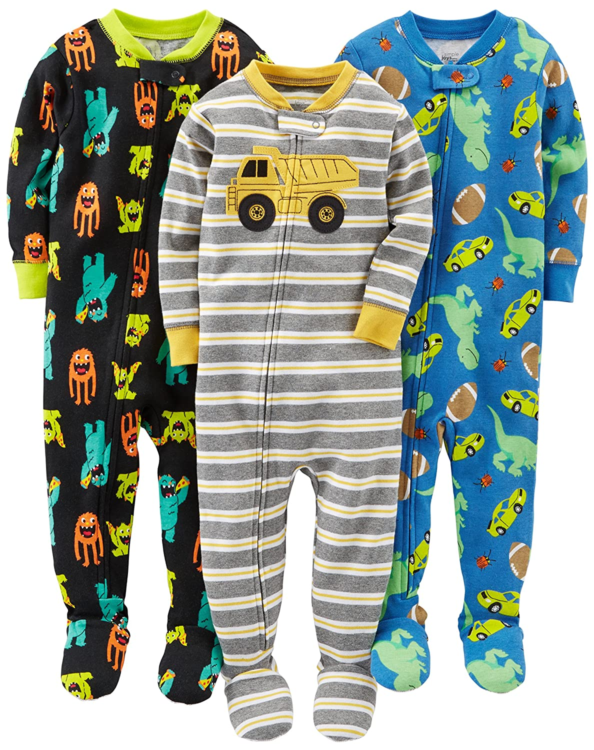 Simple Joys by Carter's Baby and Toddler Boys' 3-Pack Snug Fit Footed Cotton Pajamas Simple Joys by Carter' s 27336910