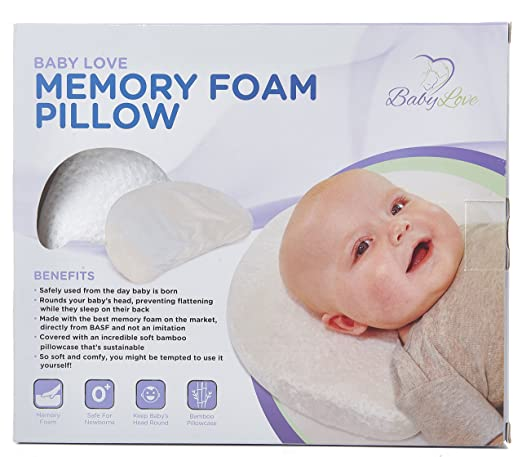 Newborn Baby Head Shaping Memory Foam Pillow with Organic Bamboo Washable Pillowcase