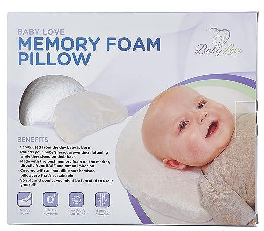 Newborn Baby Head Shaping Memory Foam Pillow with Organic Bamboo Washable Pillowcase