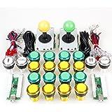 EG STARTS Arcade Kit fai da te Parti Kit progetto USB Encoder per PC Giochi Joystick a 8 vie + 20 x 5V Colori completi LED Pulsanti illuminati per giochi Arcade Stick Mame & Raspberry Pi 2 3 3B (Giallo + Verde)
