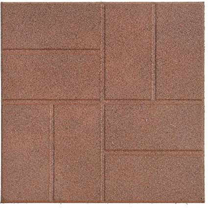 Reversible Recycled Rubber Landscaping Paver, Brown, 16u0026quot; ...