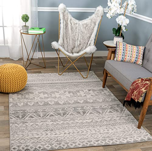 Rugshop Sky Collection Bohemian Distressed Geometric Area Rug 5 x 7 Gray