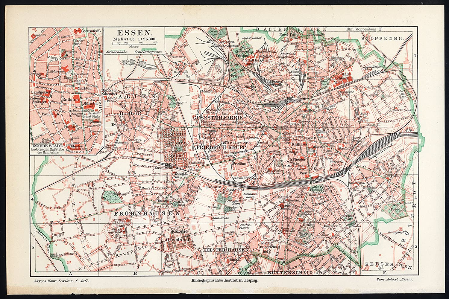 Map Of Germany Essen.Amazon Com Antique Map Essen Germany Meyers 1902 Lithographic