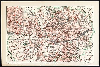 Amazon Com Antique Map Essen Germany Meyers 1902 Lithographic