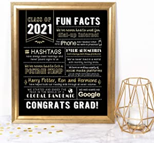 Katie Doodle Graduation Decorations 2021 - Fun Classy Table Decor - Great Class of 2021 Decorations or Graduation Gifts for Her or Him - 2021 Funny Facts Print [Unframed], 8x10 inch, Black and Gold