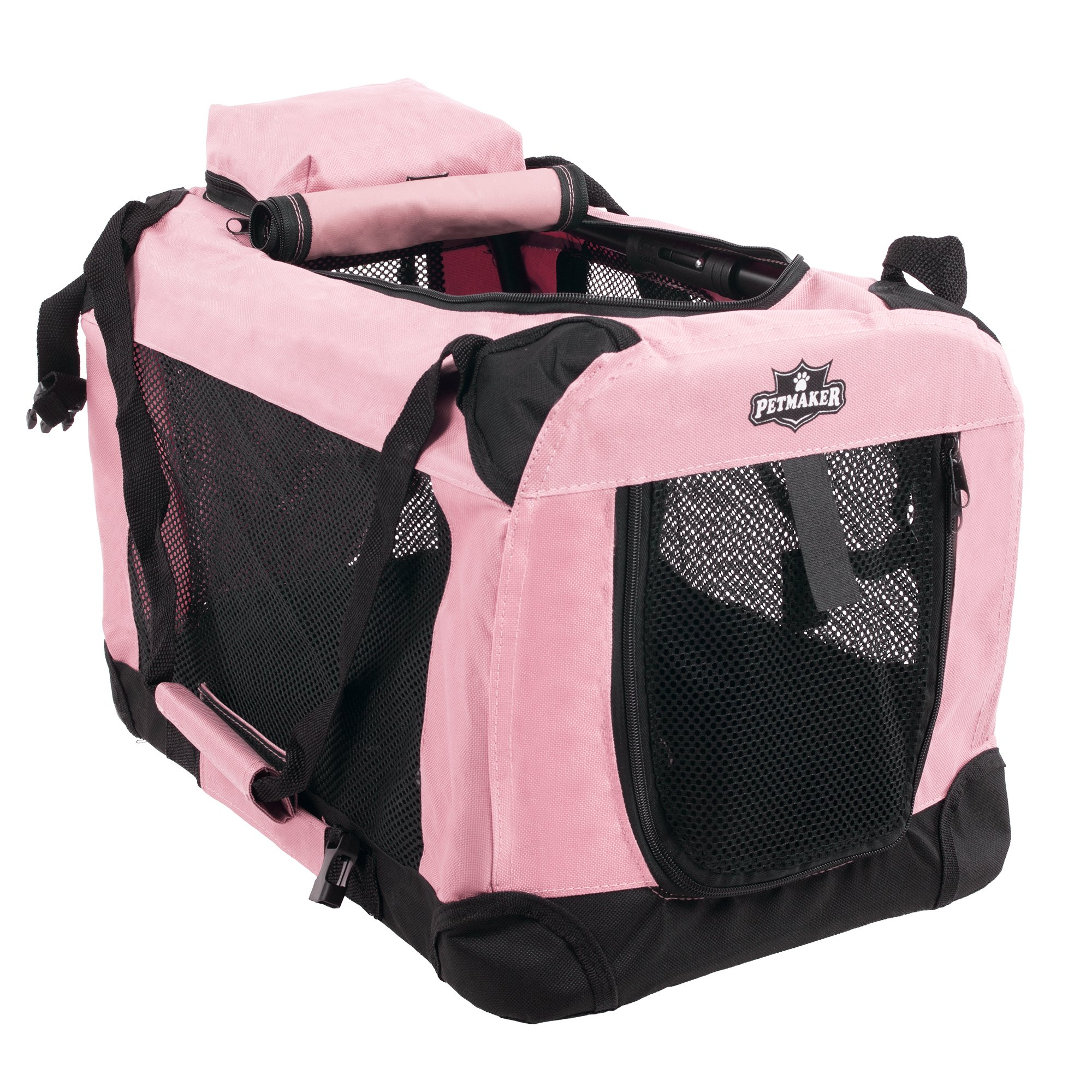 PETMAKER Portable Soft Sided Pet Crate, 20'' x 12'', Pink by PETMAKER