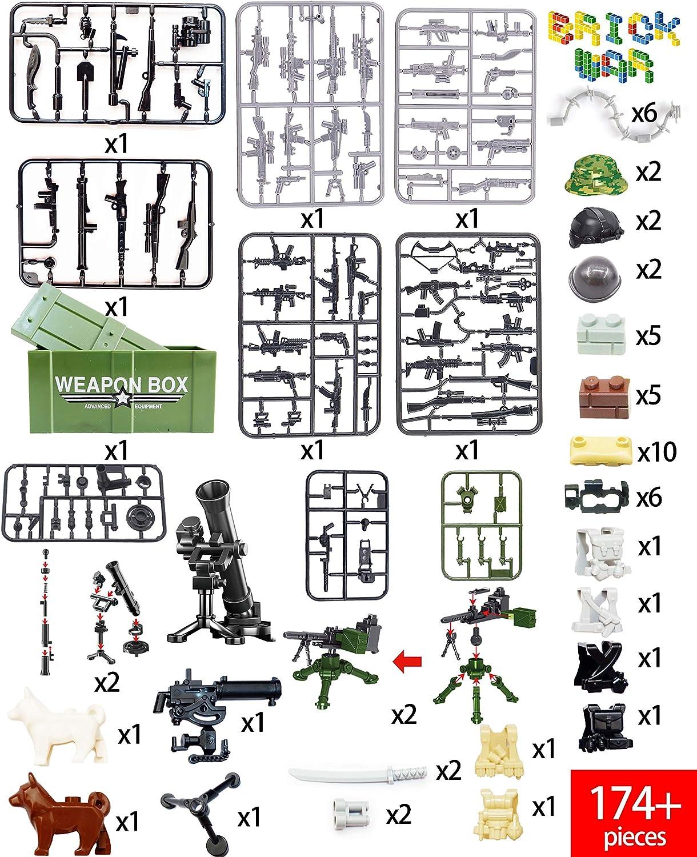 War Brick Tank WW2 Building Blocks 174 PCS Toys Set Assault Team Army Accessories Strike Set Military Building Blocks Toy Accessories Set Compatible Major Brands Boys Gifts