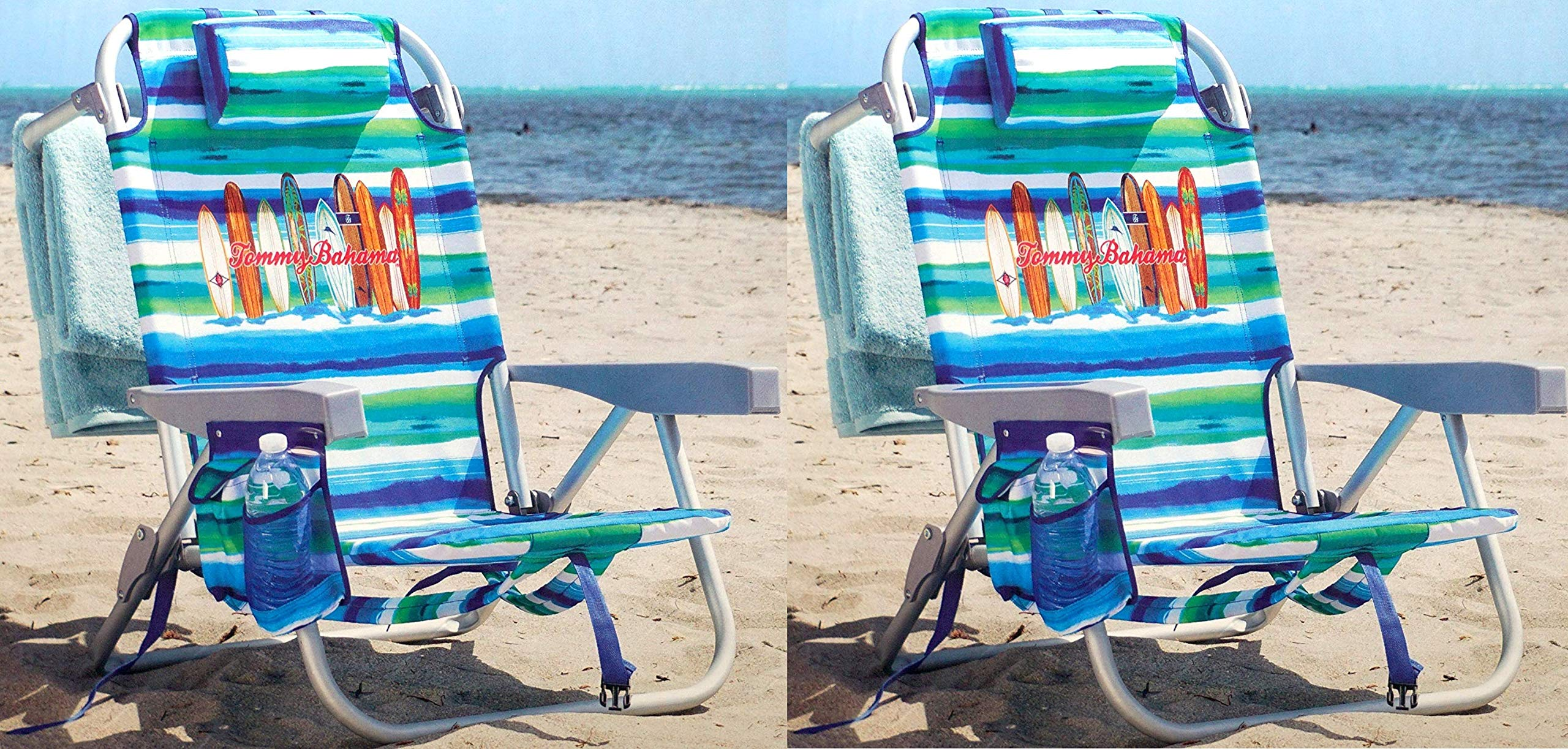 Tommy Bahama 2 Pack Backpack Beach Chair Tropical Stripe with Surf Boards Logo