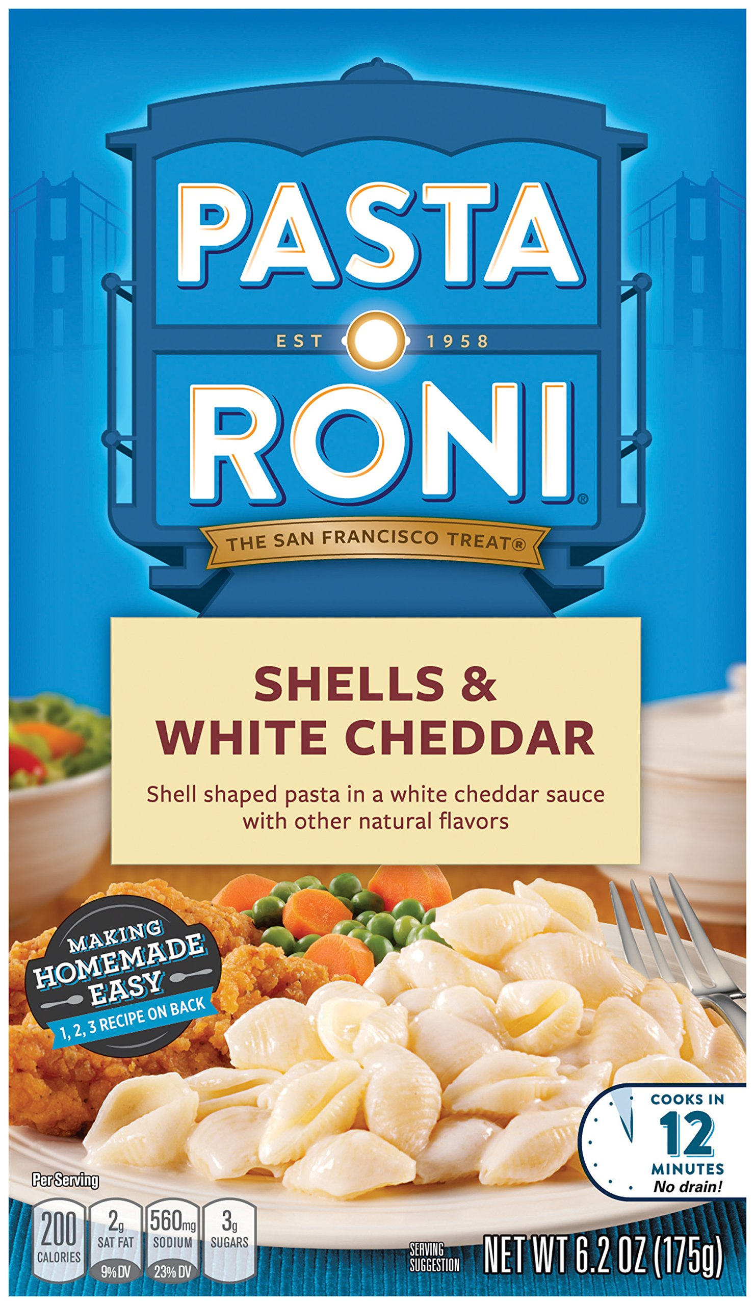 Pasta Roni Shells, White Cheddar, 6.2 Ounce Box