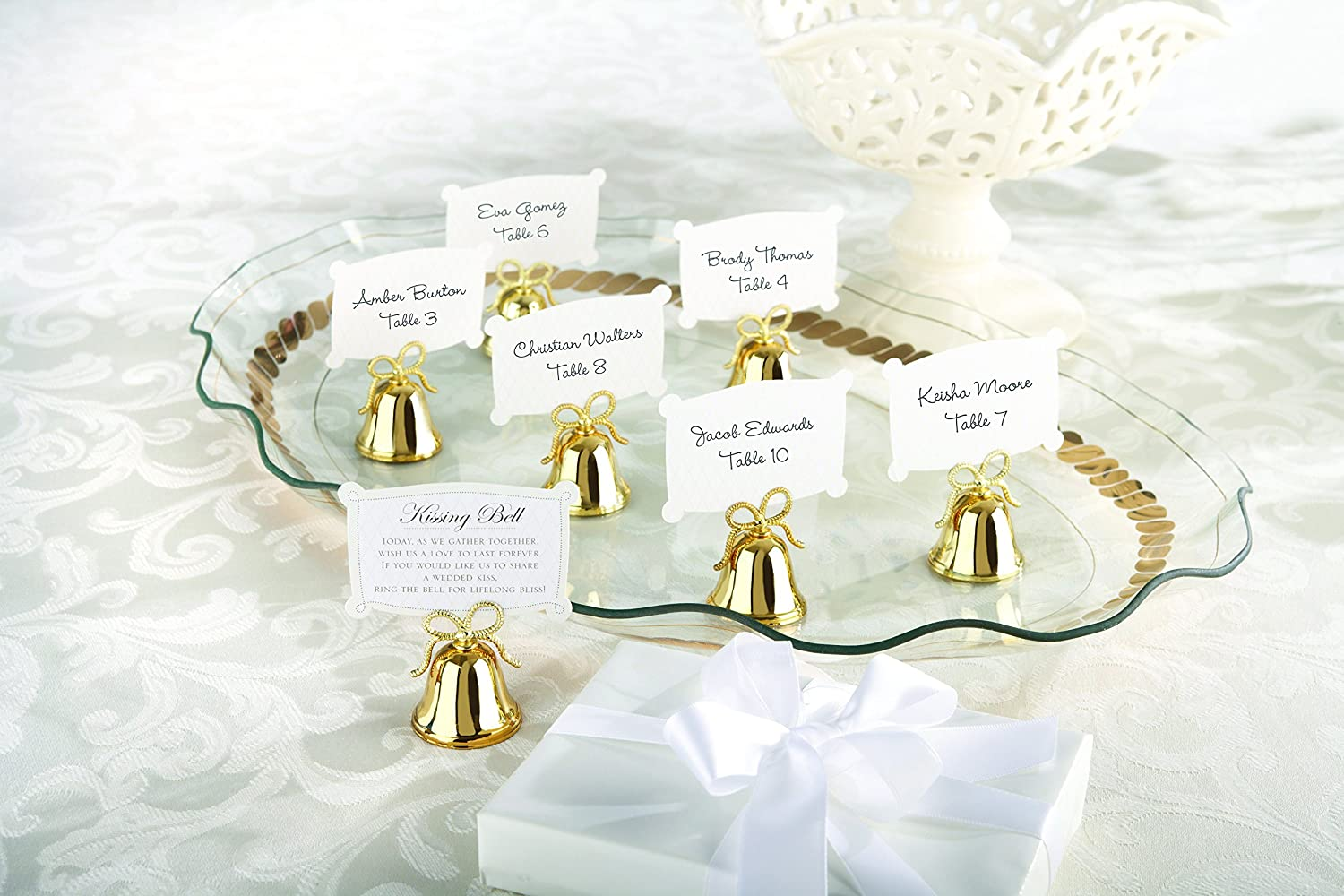 Amazon.com: Kate Aspen Gold Kissing Bells Place Card/Photo Holder ...
