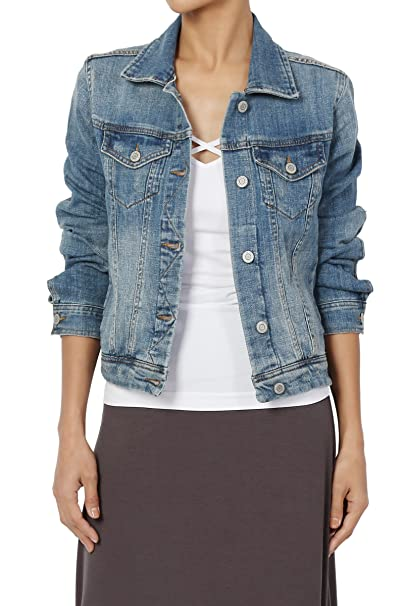 1f535b62dae06 TheMogan Junior s Shrunken Stretch Med Blue Washed Denim Jean Jacket Medium  S
