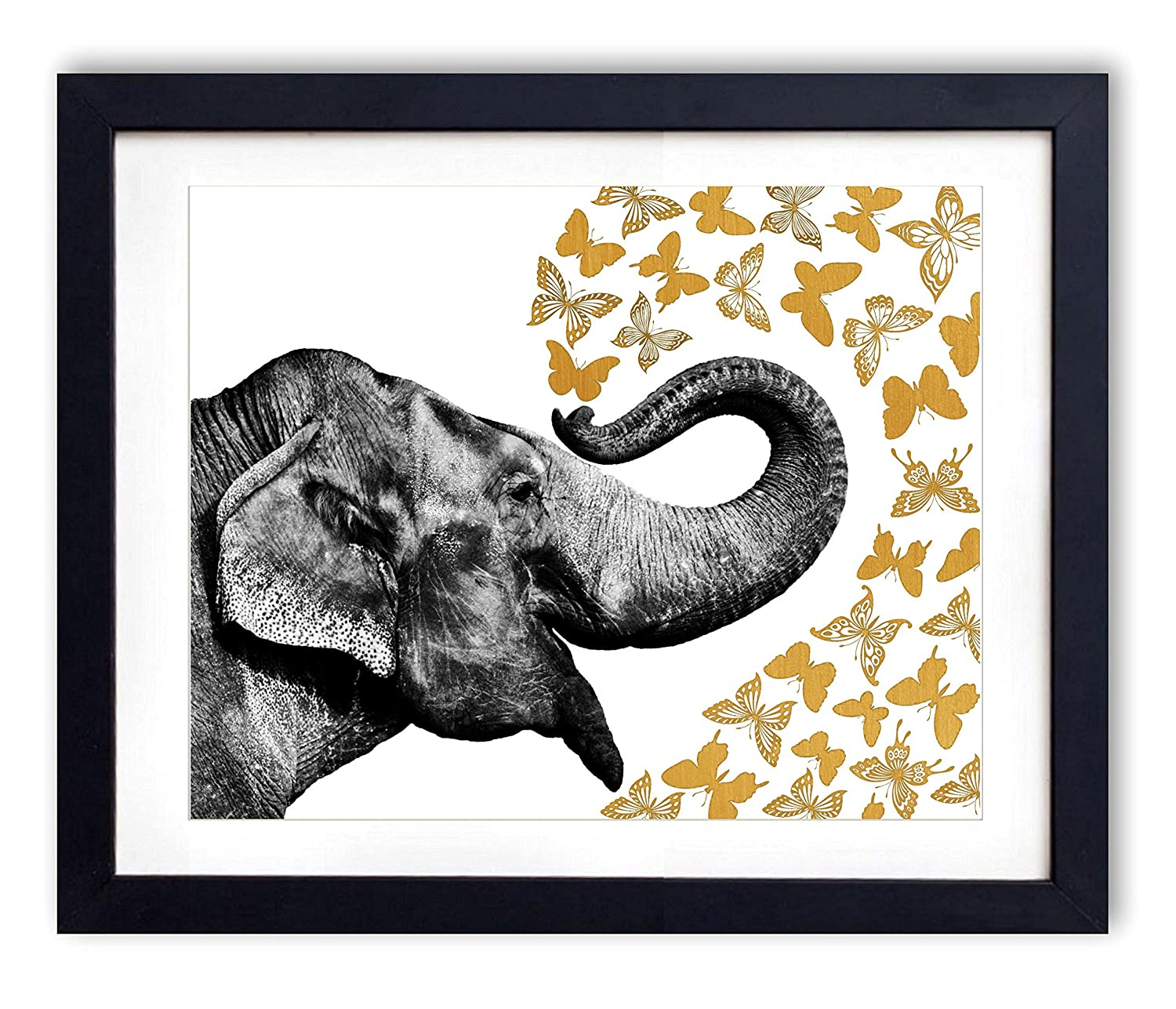 Gold Foil - Elephant With Butterflies Upcycled Wall Art Vintage Dictionary Art Print 8x10 inches / 20.32 x 25.4 cm Unframed