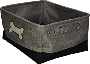 Winifred & Lily Pet Toy and Accessory Storage Bin, Organizer Storage Basket for Pet Toys, Blankets, Leashes and Food in Embroidered Dog Bone, Grey/Black