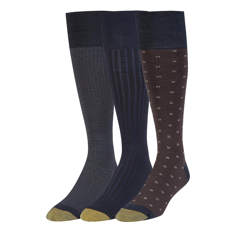 Gold Toe mens Over the Calf Dress Socks 3 Pairs Dress Sock