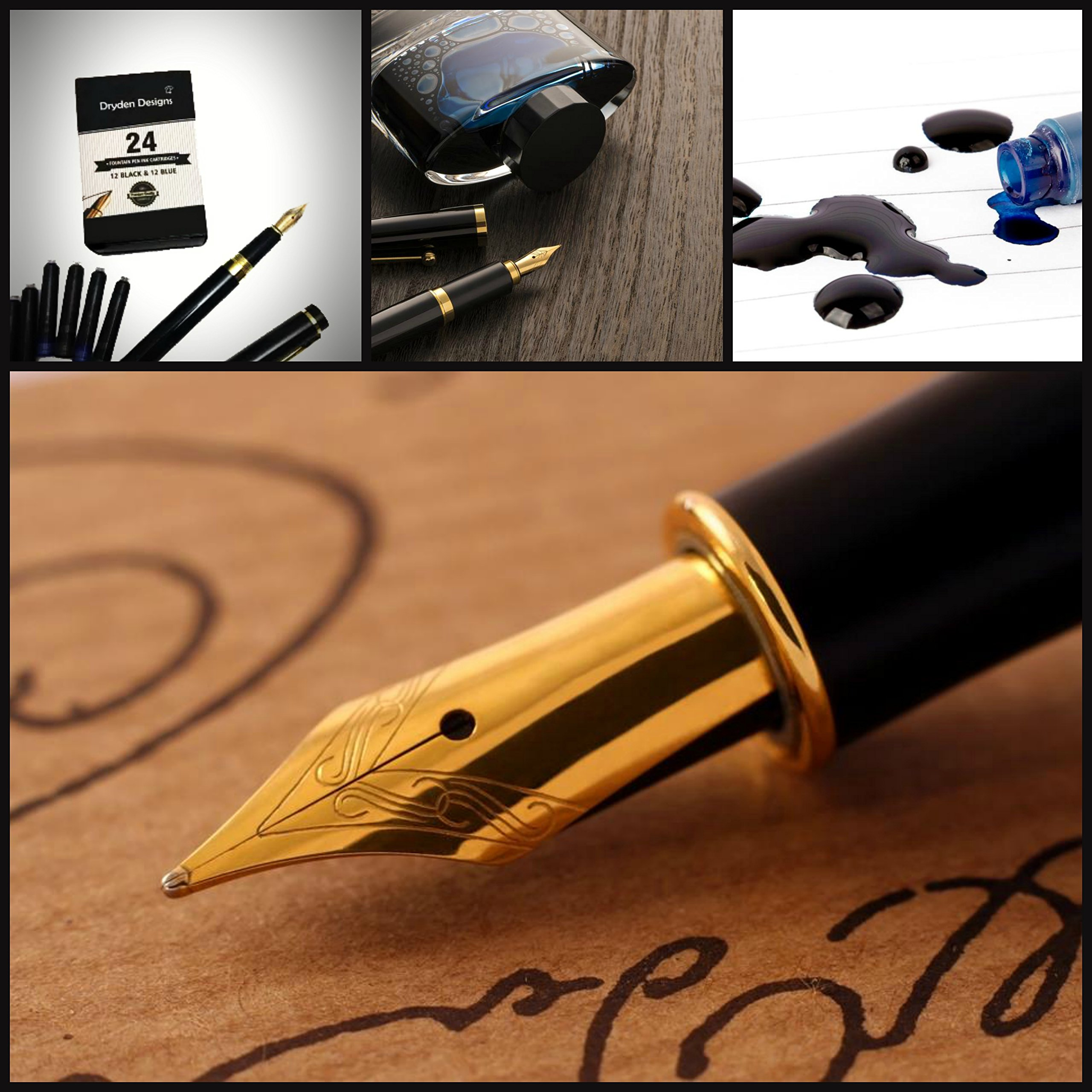 Dryden Fountain Pen Ink Cartridges ✮ SET OF 24: 12 BLACK & 12 BLUE ✮ Short International Standard Size ✮ Disposable and Generic Ink Refill Cartridges ✮ Perfect for Calligraphy by Dryden Designs (Image #2)