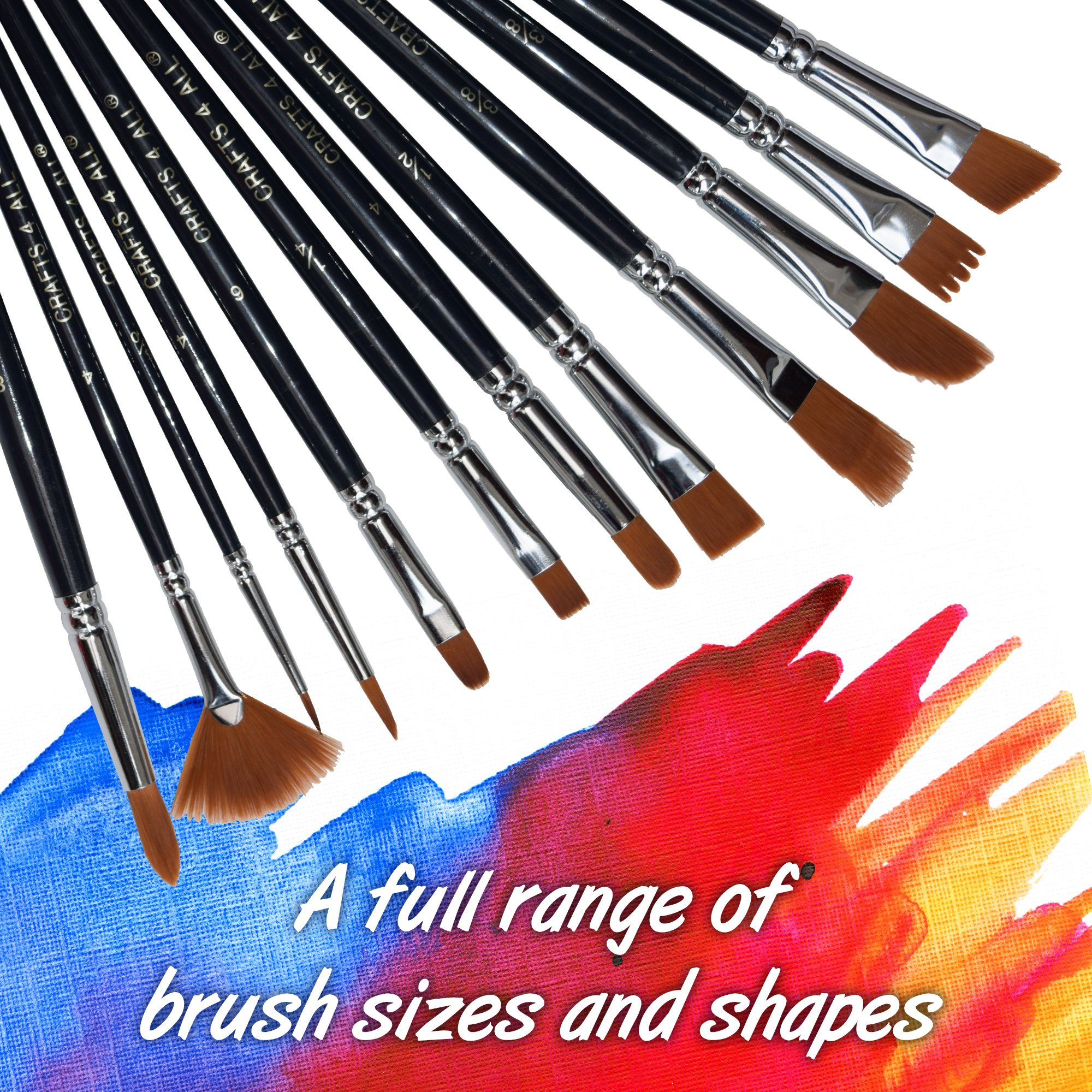 Paint Brushes 12 Pieces Set Professional Paint Brush Round Pointed Tip Nylon Hair artist acrylic brush for Acrylic Watercolor Oil Painting by Crafts 4 ALL