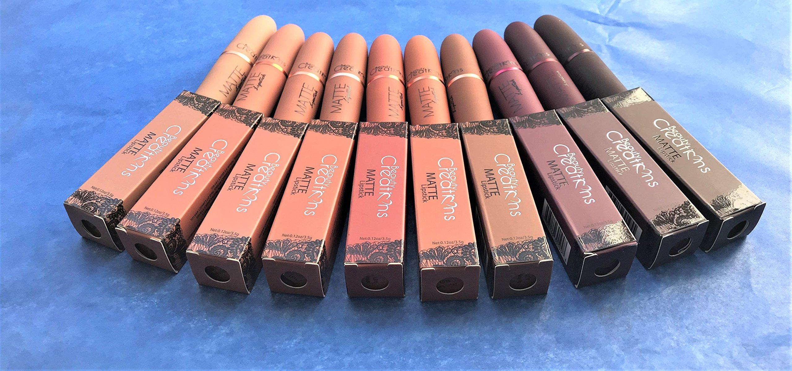 edf7bbb81542 Amazon.com: Beauty Creations Matte Lipstick 10 Pcs Set LS01-LS10: Beauty