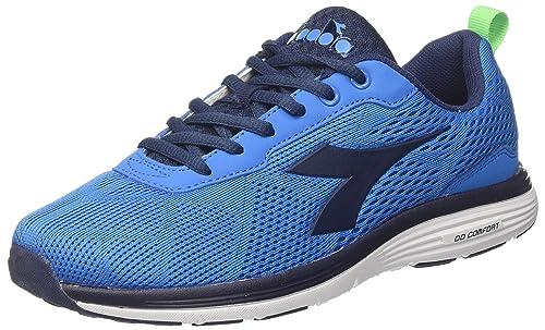 Diadora X Run Scarpe da Corsa, Uomo, Blu (Azzurro/Nero), 44.5 EU (10 UK)